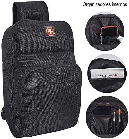 SWISSBRAND Pechera Cruzada/Mariconera/Impermeable Porta Tablet hasta 8″ Puerto USB 51USUYOmOLL