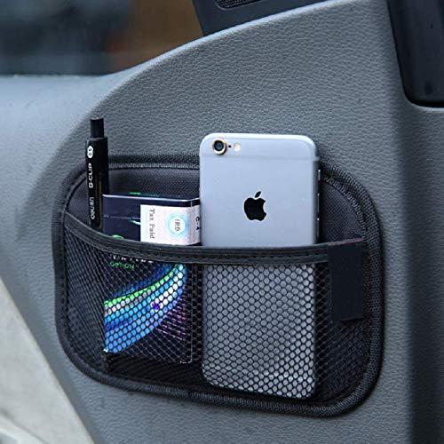 KYMY Universal Car Storage Net Bag,ABS Plastic Frame Mesh Net,Elastic Nylon Mesh Seat Back Pocket for Phone Purse Card Holder Pocket Organizer with 1PC Double Sided Tape Gift