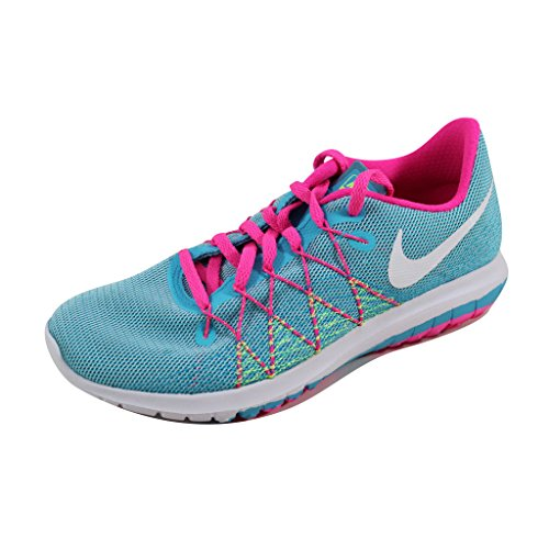 Nike Girl's Flex Fury 2 Running Shoes (5.5 Big Kid M, Gamma Blue/White/Ghost Green/Pink Blast)