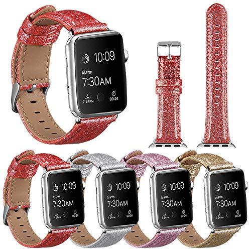 JWNCOAZS Correa de Cuero PU de Brillo Brillante Apple Watch Band Series 5 4 3 2 Pulsera de Navidad Bling para iWatch 40/44/38/42 mm 42 mm Oro