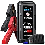 Jump Starter Car Battery Charger-TOPDON JUMPSURGE1200 12V Car Starter Lithium Battery Booster, Jumper (Up to 6.5L Gas, 4.0L Diesel) with Smart Clamp Cables, USB Quick Charge, LED Flashlight Peak 1200A