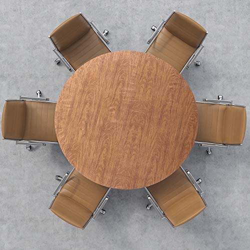 ORNOOU Round Fitted Vinyl Tablecloth, Waterproof Oil Proof Wipeable PVC Table Cover, Elastic Edge Flannel Backing, Suit for Table of 40-44in Diameter (Wood Grain)