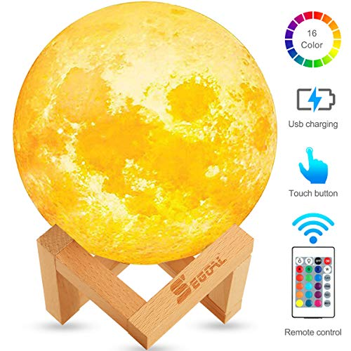SEGOAL Moon Lamp Moon Light Kids Night Light Galaxy Lamp 16 Colors LED 5.9 Inch 3D Lamps with Wood...
