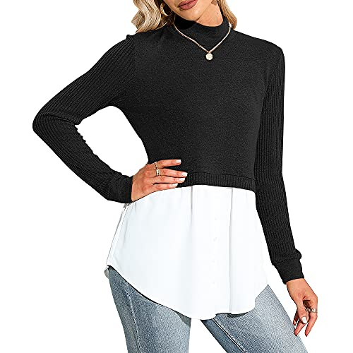 Exlura Women's Patchwork Shirt Office Shirt Ribbed Sleeve Button Down Shirt Hem 2 in 1 Pullover Blouse Tops for Work Black