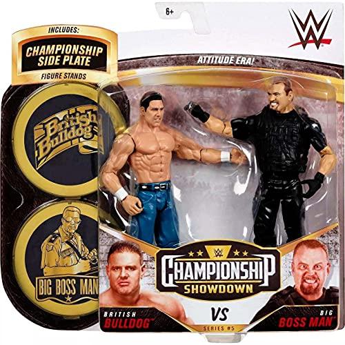 WWE Campeonato Pack 2 figuras de acción luchadores British Bulldog vs Big Boss Man con accesorios, juguete niños +6 años (Mattel GVJ24)