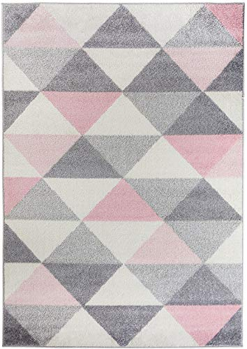 Carpetforyou Schöner Designer Moderner Teppich Smoothie Pink Dreieckmuster rosa grau Creme (120 x 170 cm)