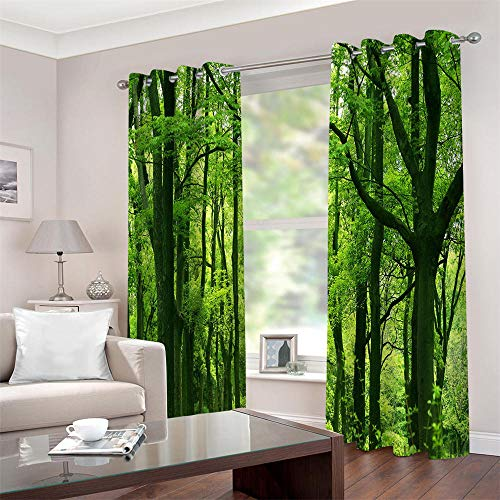 Gordijnen ondoorzichtig met ogen 3D groene bossen thermogordijn gordijnen isolerend 2 stuks raamdecoratie voor kinderkamer woonkamer slaapkamer