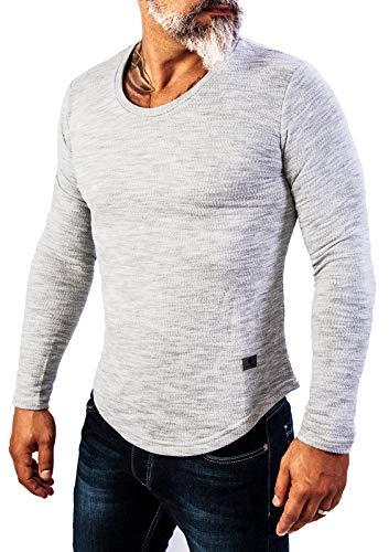 Rock Creek Herren Longsleeve Shirt Langarm Hoodie Sweatshirt Kapuzenpullover Langarmshirt Herrenpulli Street Style H-144 Hellgrau S