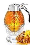 Hunnibi Honey Dispenser No Drip Glass with Stainless Steel Top - Syrup Dispenser Glass - Beautiful Honey Pot - Honey Jar...