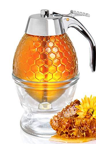 Hunnibi Honigspender ohne Tropfen Glas mit Edelstahldeckel - Sirupspender Glas - Wunderschöner Honigtopf - Honigglas mit Ständer