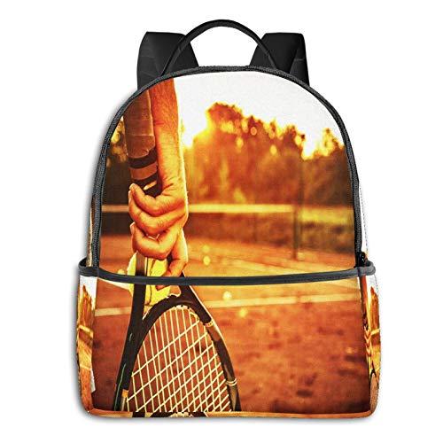 PEIGJH Mochilas Escolares Bolsa Daypack Mochila Tipo Casual para Niños Niñas para Portátiles Netbooks Hombre sujetando la Raqueta de Tenis