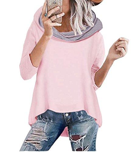 Asskdan Damen Mode Kapuzenpullover Rosa Hoodie Hoher Kragen Langarm Pullover Sweatshirt Mit Kapuze - Herbst Winter (40/L, 1 Rosa)