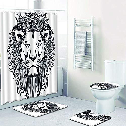 WANJIA Rutschfestes Badezimmer-Set, Duschvorhang + Badematte + U-förmige Badematte + WC-Abdeckung 4 Kombinationen+12 Haken für Duschvorhänge. 50 * 80cm W180521-D040