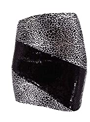 Black/Silver Sequin Mini Skirt