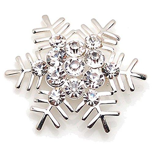 Brosche BR111 Schneeflocke Silber/Kristallweiß