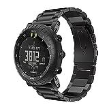 Yikamosi Kompatibel mit Suunto Core Armband,Edelstahl Metall Ersatz Smart Watch Armband Strap Bands für Suunto Core Outdoor Sports Watch(Black)