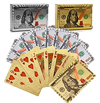 Joyoldelf 2 Decks of 24k Playing Cards Waterproof Poker with Dollar Pattern in Gift Box 1 Gold + 1 Silver