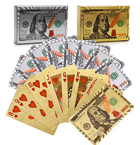 Joyoldelf 2 Decks of 24k Playing Cards, Waterproof Poker with Dollar Pattern in Gift Box, 1 Gold + 1 Silver