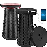 2 Packs VpnDiyp Portable Telescoping Stool with 4400Mah Phone Charger Port ,2021 Upgraded Max Load 550LB Retractable Collapsible Stool ,Lightweight Sturdy Adjustable Folding Stool for Camping,Travel