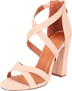 Cambridge Select Women's Crisscross Strappy Chunky Block High Heel Sandal