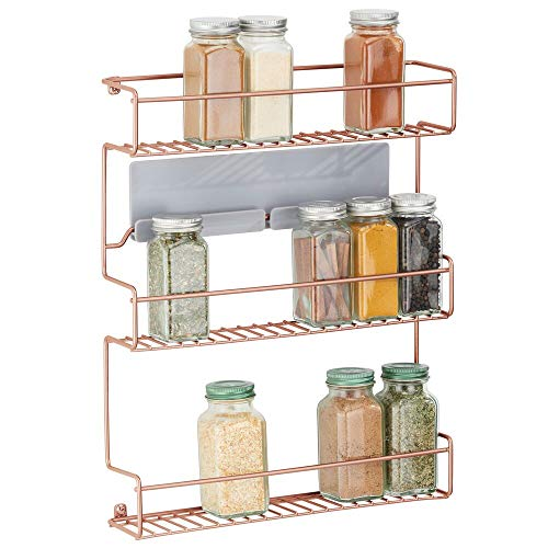 mDesign Estantería metálica – Especieros de cocina autoadhesivos con 3 niveles para montaje en pared – Ideal como organizador de especias para la cocina y la despensa – color cobre