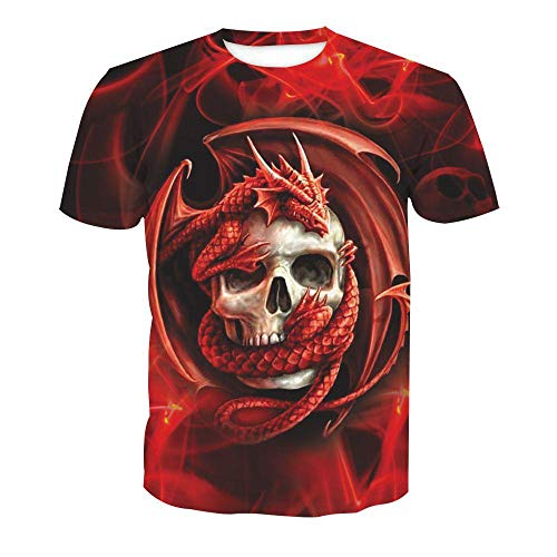 WAPDRY Unisex 3D Skull Dragon Animal Print T-Shirt,Red Fashion Casual Short Sleeve,Round Neck Breathable Sweat-Absorbent Top,Personalized Couple Outfit-XXS