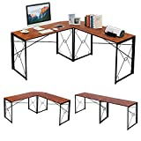 VECELO L Shaped Computer Corner Craft Desk, 59''x59'' Large Industrial Home Office Workstation, Multi-Usage Long 2 Person Table, Easy Assembly/Saving Space, Brown Wooden Grain