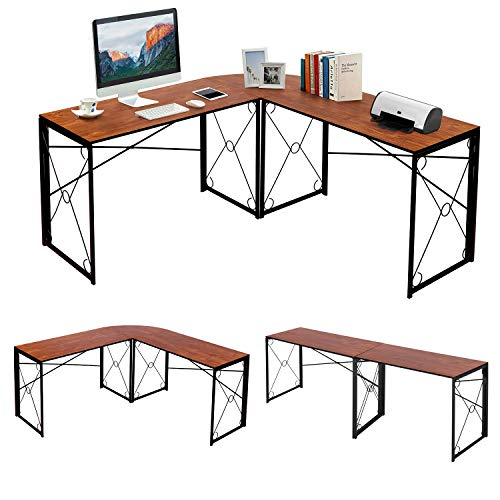 VECELO L Shaped Computer Corner Desk, 59''x59'' Large Industrial Home Office Workstation, Multi-Usage Long 2 Person Table, Easy Assembly Saving Space, Teak Brown