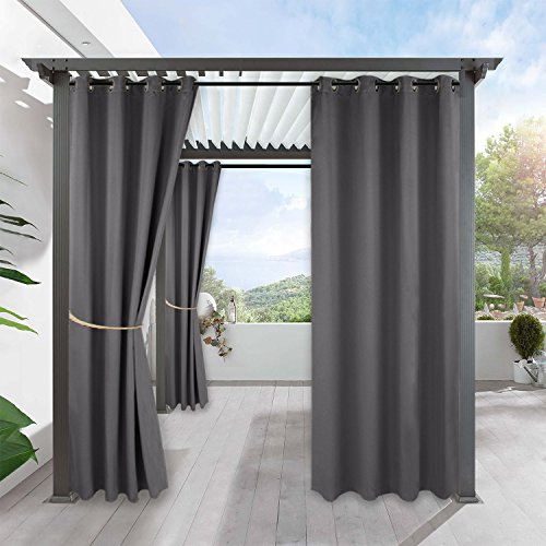 RYB HOME Outdoor Curtains Pergola - Wind Water Repellent Drapes Sunlight Block Grommet Curtain Panels for Patio Porch Pavilion Pergola Beach Sun Room Window, W 52 x L 120 inches, 1 Pc, Grey