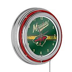 Trademark Global NHL Chrome Double Rung Neon Clock - Minnesota Wild