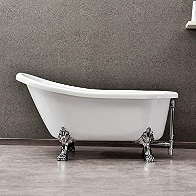 """WOODBRIDGE Slipper Solid Brass Polished Chrome Finish Drain and Overflow, B-0022 /BTA1522, 59"""" Clawfoot Bathtub"""