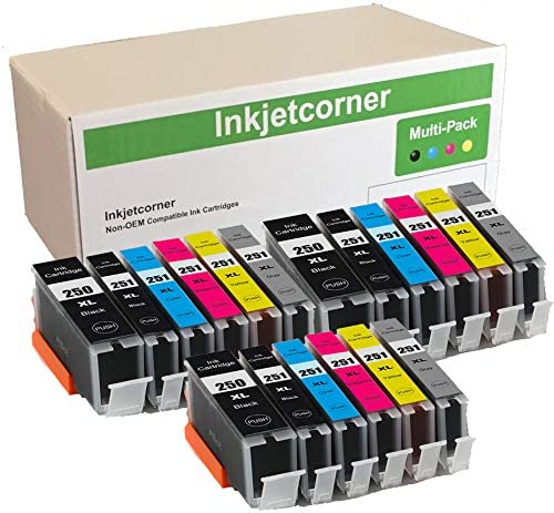 Inkjetcorner Compatible Ink Cartridges Replacement for PGI-250XL CLI-251XL 250XL 251XL for use with MG7120 iP8720 MG6320 MG7520 (18 Pack)