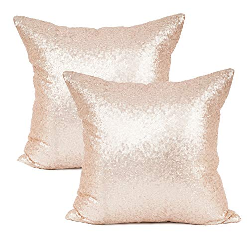 YOUR SMILE Pack of 2, New Luxury Series Rose Gold Decorative Glitzy Sequin & Comfy Satin Solid Throw Pillow Cover Cushion Case 18