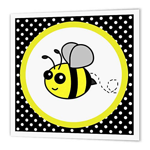 3dRose ht_57078_1 Cute Yellow Bumble Bee on Black and White Polka Dots - Iron on Heat Transfer, 8 by 8', for White Material