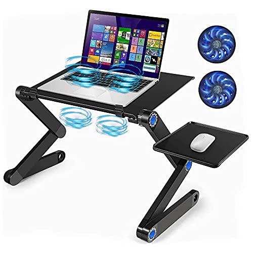 VOICEPTT Soporte ajustable para computadora portátil con 2 ventiladores de refrigeración de CPU, alfombrilla de ratón desmontable, escritorio ergonómico para regazo, bandeja de cama para TV, escritorio de pie, negro