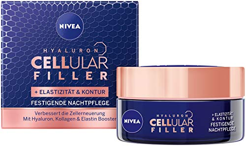 Nivea Hyaluron Cellular + Elasticity and Contour Night Cream Anti-Wrinkle Night Cream Reduces Wrinkles, Firming Face Cream for Elastic & Strengthened Skin