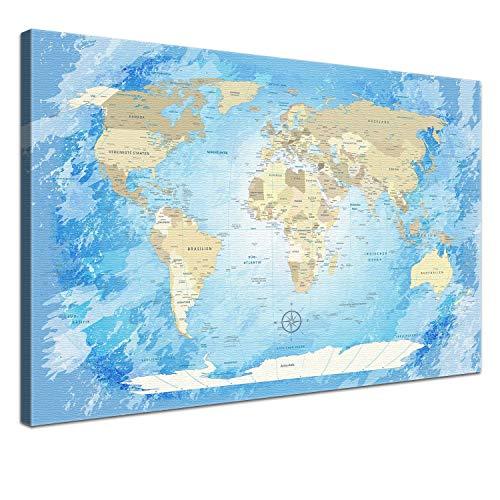 """LANA KK - Weltkarte Leinwandbild mit Korkrückwand zum pinnen der Reiseziele – """"Worldmap Frozen"""" - deutsch - Kunstdruck-Pinnwand Globus in blau, in 150x100cm"""