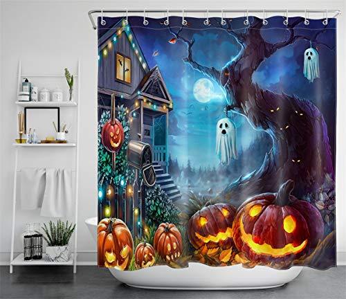 LB Halloween Shower Curtain for Bathroom Scary Ghost on Tree Pumpkin Lantern Haunted House Shower Curtains Hooks All Saints' Day Night Bathroom Curtain Set,70x70 Inch Waterproof Fabric