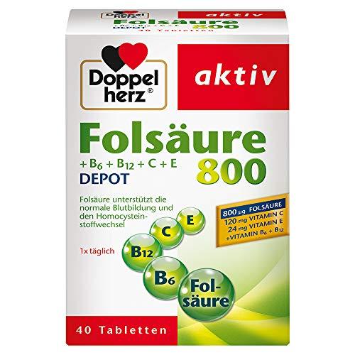 Doppelherz Folsäure 800 DEPOT – Folsäure zur Unterstützung normaler Zellteilung – Zusätzlich mit Vitamin B6, B12, C und E – 1 x 40 Tabletten