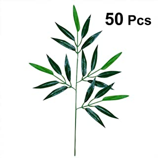 OULII 50pcs Artificial Green Bamboo Leaves Fake Green Plants Greenery Leaves for Home Hotel Office Decoration