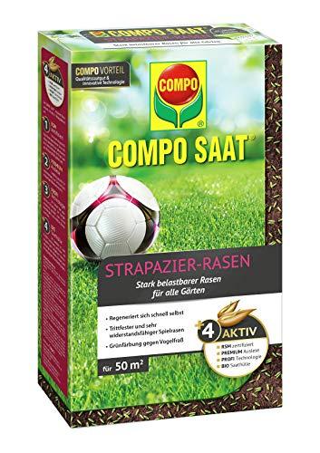 Compo SAAT Strapazier-Rasen, Spezielle Rasensaat-Mischung mit wirkaktivem Keimbeschleuniger, 1 kg, 50 m²