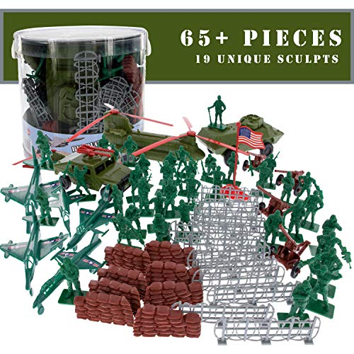 SCS Direct Army Men Modern Warfare Action Figures- 65+ Pieces, 15 Unique Sculpts- Military Toy Soldiers and Artillery Playset
