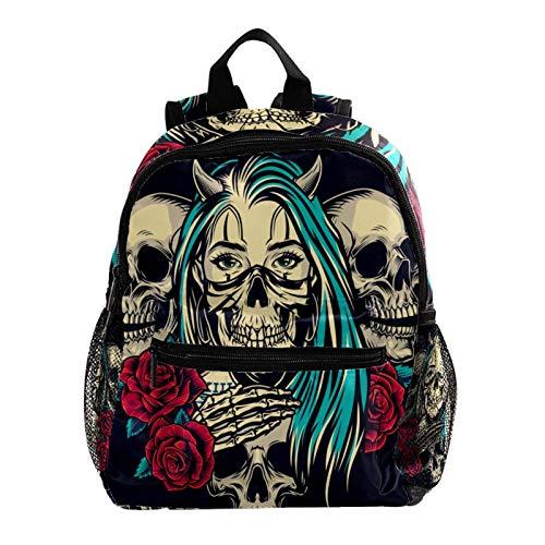 School Backpack Vintage Skull Rose Toddler Backpack Kids Schoolbag Waterproof 25.4x10x30 cm