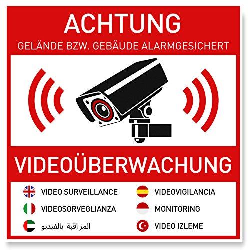 7 x Aufkleber Videoüberwachung (10 x 10 cm) - Sticker für mehr Sicherheit - Rückseite Geschlitzt - Achtung Videoüberwachung - Warnhinweis - Videoüberwachung Aufkleber Mehrsprachig (10x10cm)