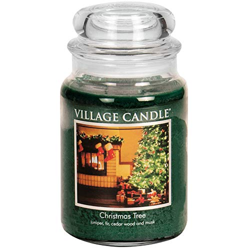 Village Candle Christmas Tree Large Glass Apothecary Jar Scented Candle, (26oz), Green