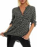 Malito Blusa con Animal-Print Safari 3/4 Túnica Parte Superior Top Obersized 6702 Mujer Talla Única (Oliva)