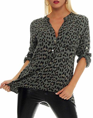 Malito Damen Bluse mit Leo Muster | Tunika mit ¾ Armen | Longsleeve mit Animal Print | Elegant - Oversize - Shirt 6702 (Oliv)