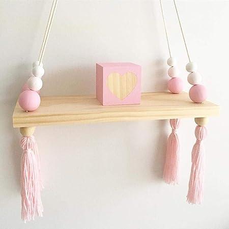 Waroomss - Estante de pared nórdico para niños con cuerda y tabla de madera