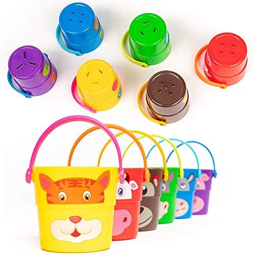 Bramble 6 Stack 'n Pour Buckets, Badespielzeug Eimer zum Stapeln| 6 Verschiedene Charaktere & 3 Sprinkler-Effekte| Badezimmer Badewanne Dusche Wasser Pool Spielzeug für Babys Kinder