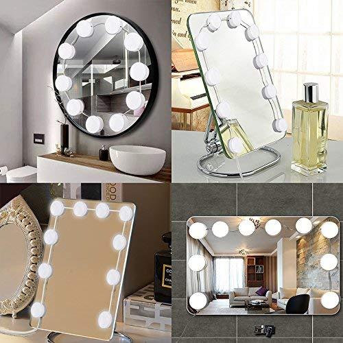 Fuhaoo Espejo de iluminación, 10 Piezas lámparas regulables USB, Dressing Mirror Lighting Dormitorio Baño de luces DIY, [Clase de eficiencia energética A +]